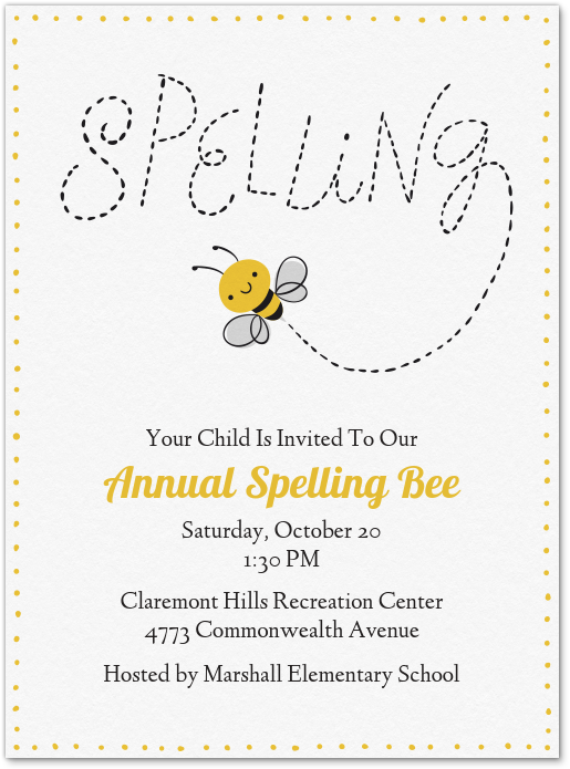 Spelling Bee Invitation Evite