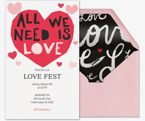 All We Need Is Love Invitation