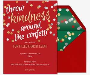 Kindness Confetti Holiday Invite Invitation
