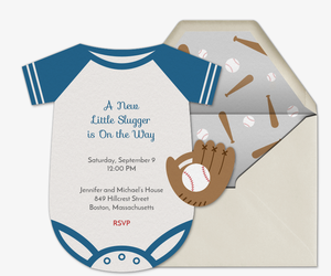 Baseball Baby Onesie Invitation