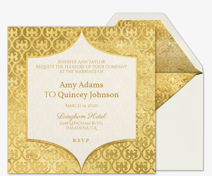 Heart Of Gold Wedding Invitation