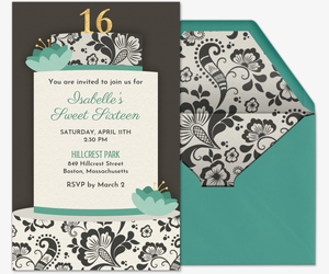 Sweet 16 Teal Cake Invitation