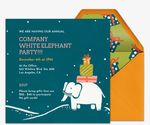 Gift Exchange Online Invitations Evitecom - Party invitation template: white elephant christmas party invitations templates