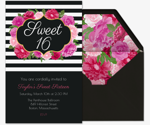 Floral Sweet 16 Invitation