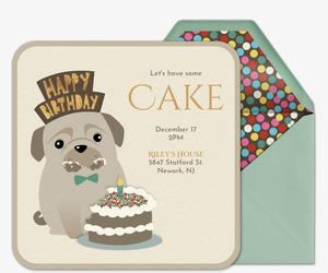 dog eating cake invitation - Dog Party Invitations