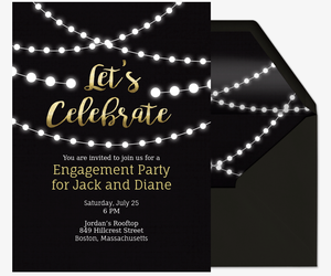Captivating String Lights Invite Invitation Inside Engagement Party Invitation Template