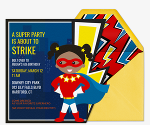 Invitations Free ECards And Party Planning Ideas From Evite - Free birthday invitation templates superhero