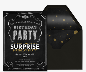 Birthday Chalkboard Invitation