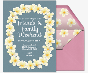 Invitations free ecards and party planning ideas from evite beach floral lei invitation stopboris Image collections