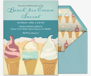 beach ice cream invitation