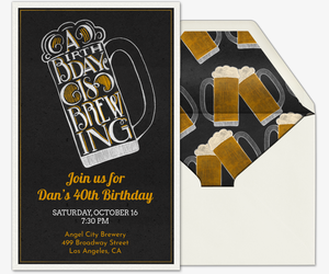 Birthday Brewing Invite Invitation