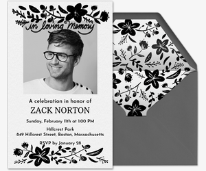 Black Floral Frame Invitation