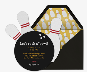 Bowling Ball Die Cut Invitation