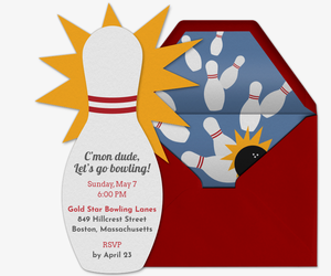 Bowling Pin Die Cut Invitation