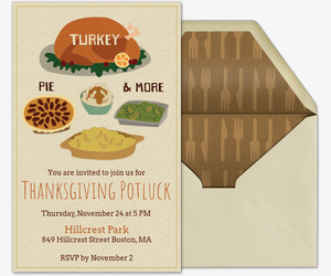 Fall Potluck Dinner Invitation