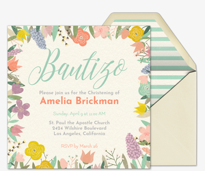 Floral Baptism Invitation