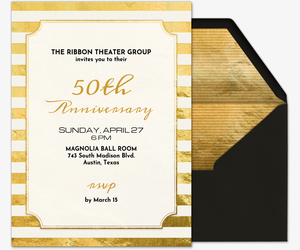 Free online wedding anniversary invitation wrsvp tracker evite golden ticket invitation stopboris Choice Image