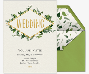 Online wedding invitations with rsvp tracking evite design your own invitation green wedding invitation stopboris Choice Image