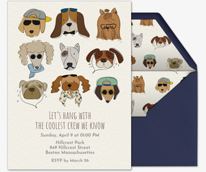 Pet party animal themed online invitations evite hipster dogs invitation stopboris Image collections