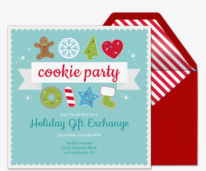 Gift exchange online invitations evite holiday cookie party invite invitation stopboris