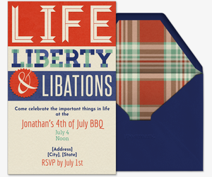 Life, Liberty & Libations Invitation