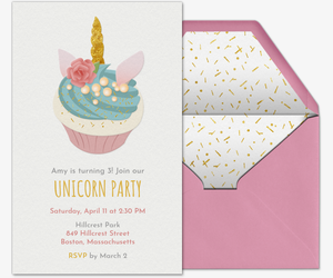 Unicorn Cupcake Invitation