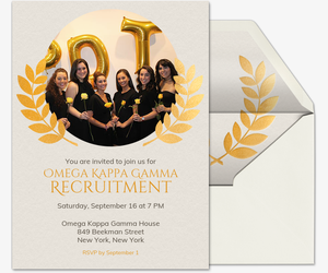Gold Laurel Circle Invitation