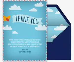 Airplane Thank You Card Invitation
