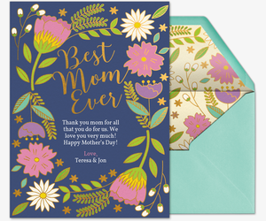 Floral Best Mom Ever Invitation