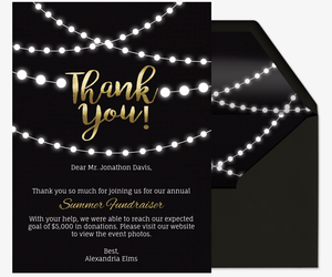 String Lights Thank You Invitation