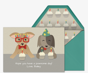 Pet Dog Birthday Cake Invitation