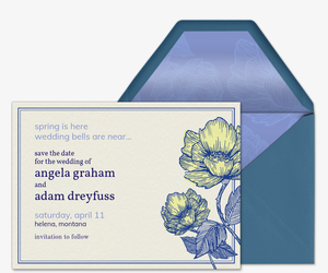 Blue Blooms Save Invitation