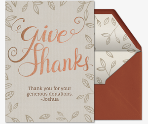 Give Thanks Foliage Invitation