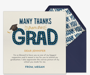 Grad Type Thank You Invitation