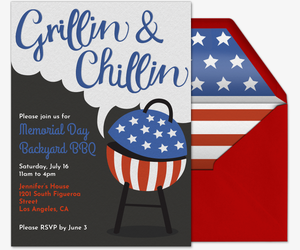 Patriotic Backyard BBQ Invitation
