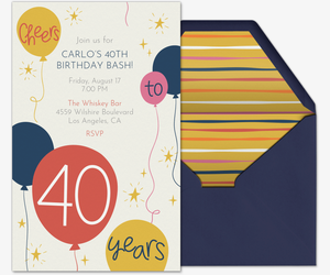 Free birthday milestone invitations evite 40th birthday invitation filmwisefo