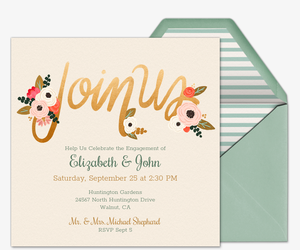 Free engagement party invitations evite floral join us invitation stopboris Images