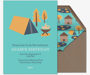 Invitations free ecards and party planning ideas from evite lets go camping invitation filmwisefo