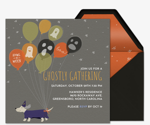 Halloweenie Ghostly Balloons Invitation