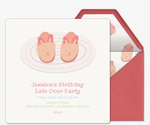 Tiny Fuzzy Bunny Slippers Invitation