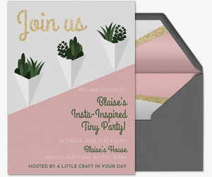 Free birthday party invitations for her evite succulent glitter join us invitation stopboris Choice Image