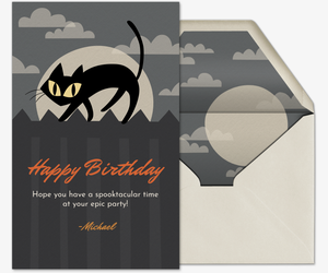 Halloween Black Cat Invitation
