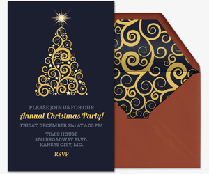 golden christmas tree invitation