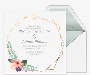 design your own invitation floral geometric save the date invitation