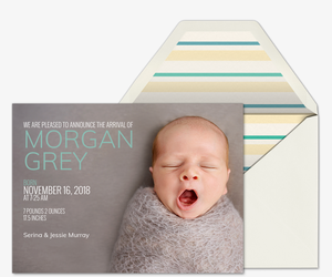 Baby Name Left Invitation