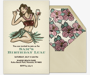 Beach Hula Girl Invitation