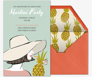 Beach Pineapple Cocktail Invitation