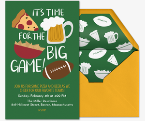 Big Game Big Food Invitation