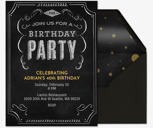 Free birthday party invitations for him evite birthday chalkboard invitation filmwisefo