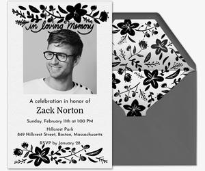 Black Floral Frame Invitation